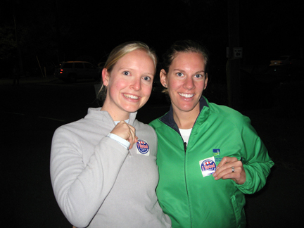 Christine and I proudly showing off our stickers!
